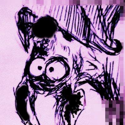 Eine gezeichnete Fledermaus mit großen Augen kopfüber auf violetten Hintergrund.